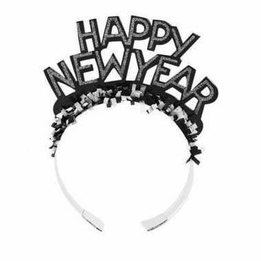 Diadeem happy new year zwart volwassenen carnavalskleding valkenswaar