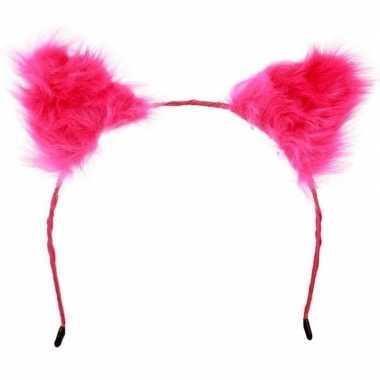 Diadeem pluche roze oren volwassenen carnavalskleding valkenswaard
