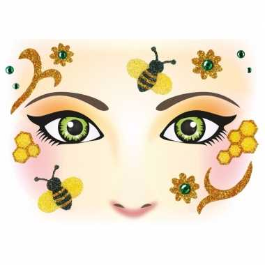 Dieren gezicht sticker bijen carnavalskleding valkenswaard
