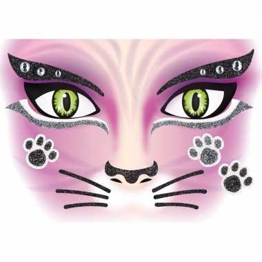 Dieren gezicht sticker poes/katten carnavalskleding valkenswaard