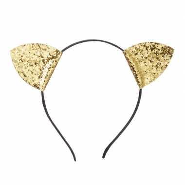 Dieren hoofdband katten oortjes goud carnavalskleding valkenswaard