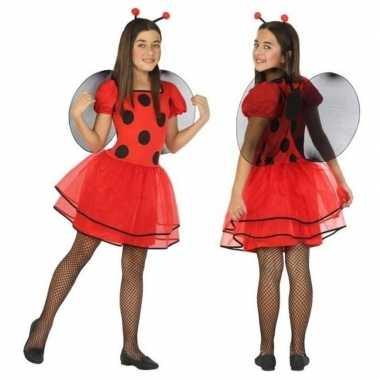 Dierencarnavalskleding lieveheersbeestje verkleed jurk/jurkje meisjes
