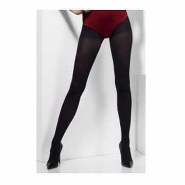 Dikke zwarte panty one size dames carnavalskleding valkenswaard