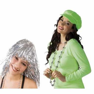 Disco accessoires verkleedset zilver dames carnavalskleding valkenswa