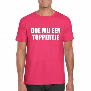 Doe mij een toppertje shirt roze heren carnavalskleding valkenswaard