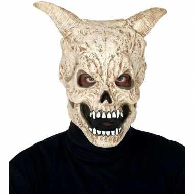 Duivel schedel hoorns horror masker latex carnavalskleding valkenswaa