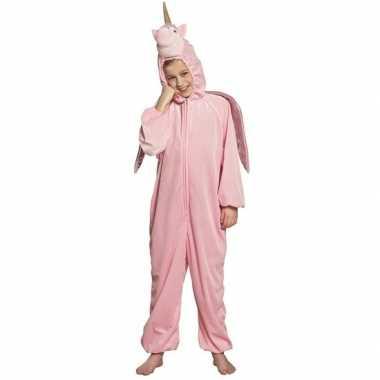 Eenhoorn dieren onesie/carnavalskleding kinderen roze valkenswaard