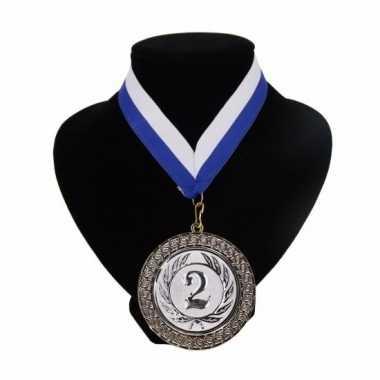 Fan medaille nr. lint blauw wit carnavalskleding valkenswaard