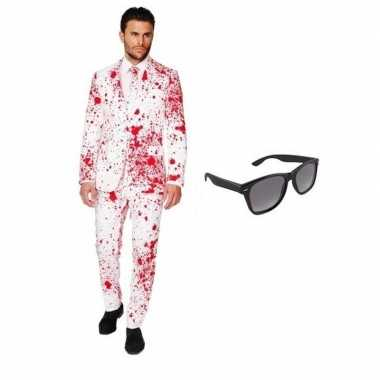 Feest bloed print tuxedo/business suit (l) heren gratis zonnebril car