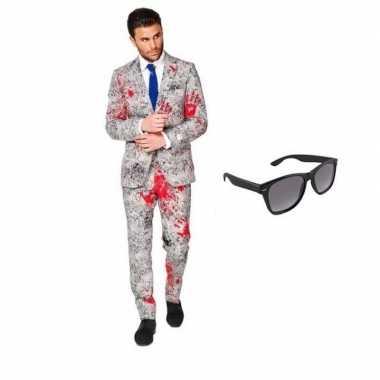 Feest bloedhanden print tuxedo/business suit (m) heren gratis zonnebr