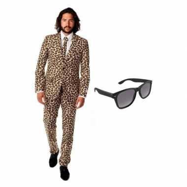 Feest bruin tuxedo/business suit (xl) heren gratis zonnebril carnaval