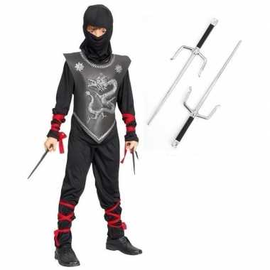 Feest carnavalskleding ninja dolkjes maat m jongens/meisjes valkenswa