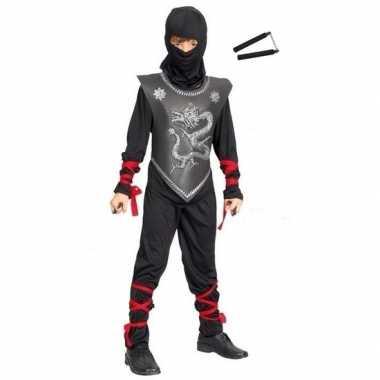Feest carnavalskleding ninja nunchaku vechtstokken maat s jongens/mei