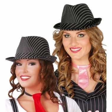 Feest deuk hoedje zwart witte strepen carnavalskleding valkenswaard