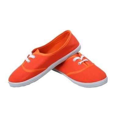 Feest oranje sneakers/schoenen dames accessoires carnavalskleding val