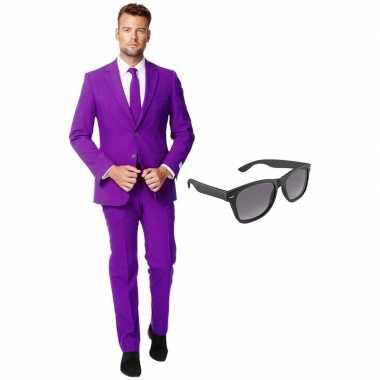 Feest paarse tuxedo/business suit (xxxl) heren gratis zonnebril carna