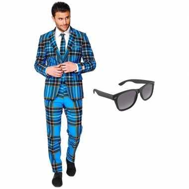 Feest schotse ruit tuxedo/business suit (xxxl) heren gratis zonnebril
