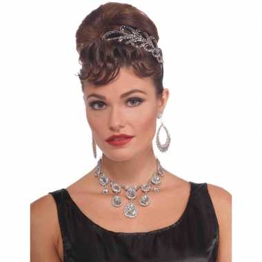 Feest/verkleed ketting zilver diamanten dames carnavalskleding valken