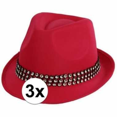 Feestartikelen roze hoed zilveren stenen stuks carnavalskleding valke