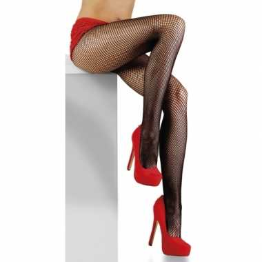 Fijne visnet panty zwart dames carnavalskleding valkenswaard