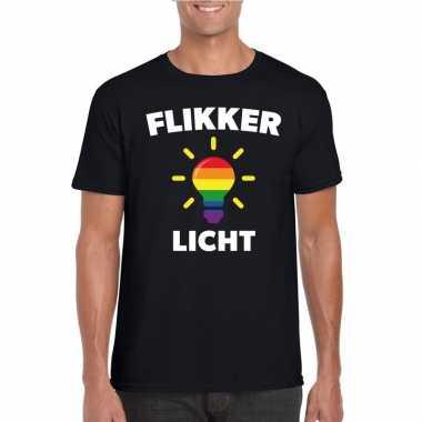 Flikker licht shirt regenboog lampje zwart heren carnavalskleding val