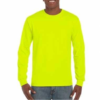 Fluoriserend gele t-shirt lange mouwen gildan