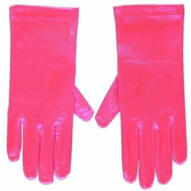 Fuchsia roze gala handschoenen kort satijn carnavalskleding valkenswa