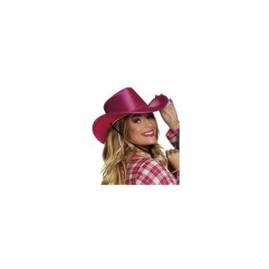 Fuchsia roze glitter cowboyhoed wilde westen verkleedaccessoire carna