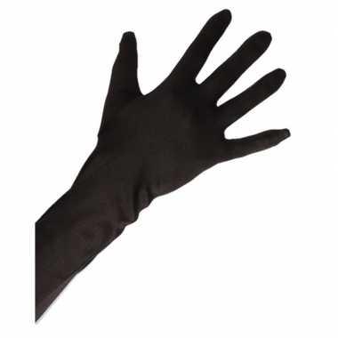 Gala handschoenen lang zwart volwassenen carnavalskleding valkenswaar
