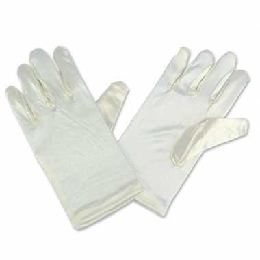 Gebroken witte satijnen handschoenen kinderen carnavalskleding valken