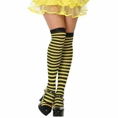 Geel/zwarte gestreepte verkleed kousen dames carnavalskleding valkens