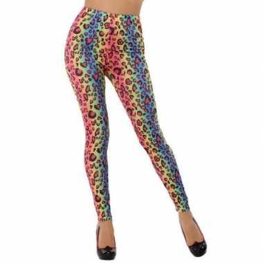 Gekleurde luipaard verkleed legging dames carnavalskleding valkenswaard