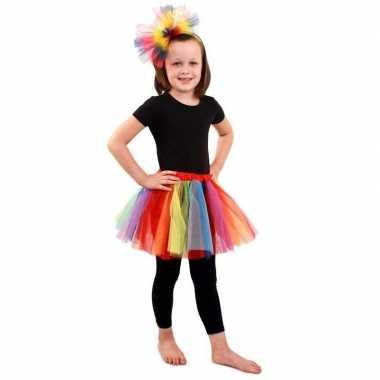 Gekleurde regenboog petticoat meisjes carnavalskleding valkenswaard