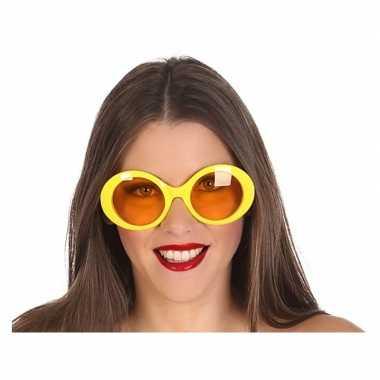 Gele ronde verkleed zonnebril carnavalskleding valkenswaard