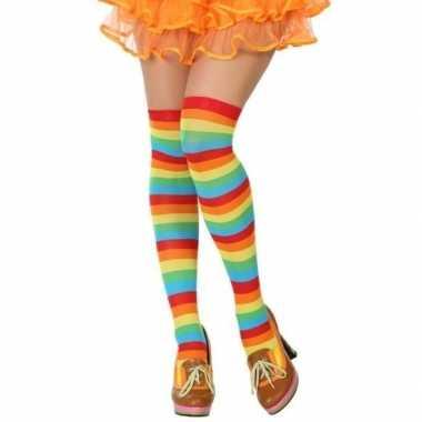 Gestreepte kousen clown verkleed accessoire dames carnavalskleding va