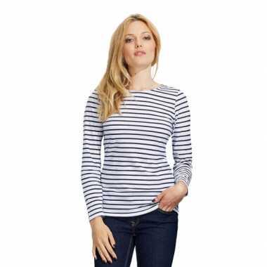Gestreepte shirts dames wit blauw