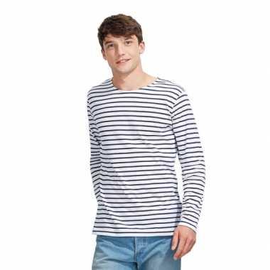 Gestreepte shirts heren wit blauw