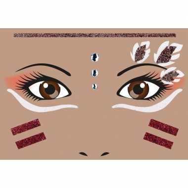 Gezicht stickers indiaan vel carnavalskleding valkenswaard