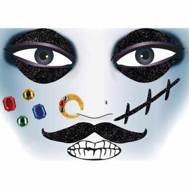 Gezicht stickers piraat vel carnavalskleding valkenswaard