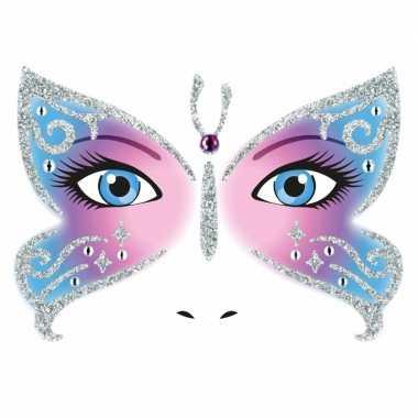 Gezicht stickers vlinder vel carnavalskleding valkenswaard