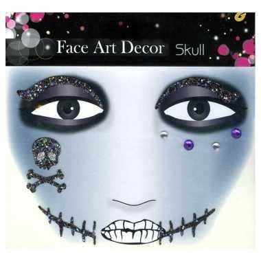 Gezichts schmink sticker skull carnavalskleding valkenswaard
