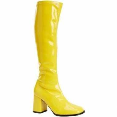 Glimmende gele laarzen dames carnavalskleding valkenswaard