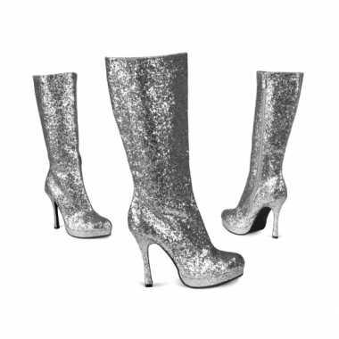 Glitter laarzen zilver carnavalskleding Valkenswaard