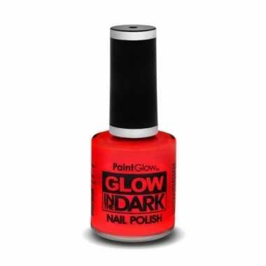 Glow the dark nagellak neon rood carnavalskleding valkenswaard