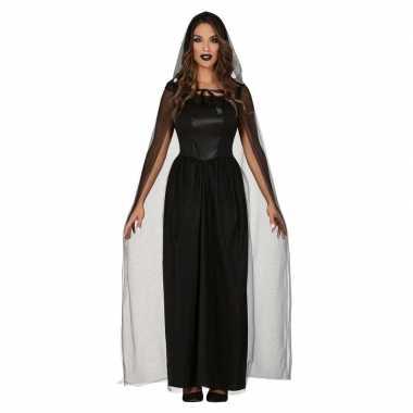 Gothic verkleed bruidsjurk zwart cape/sluier dames carnavalskleding v