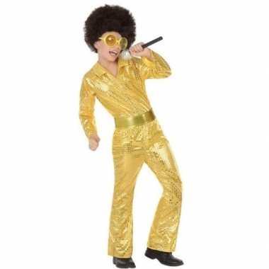 Goud glitter carnavalskleding pailletten jongens valkenswaard