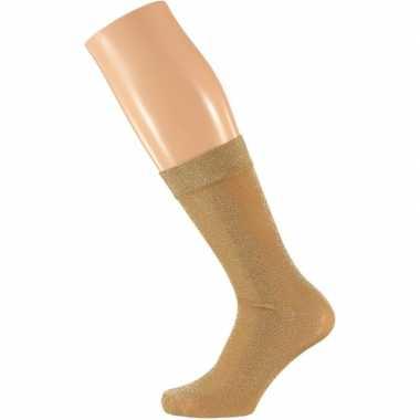Gouden dames party glitter sokken lurex maat carnavalskleding valkens