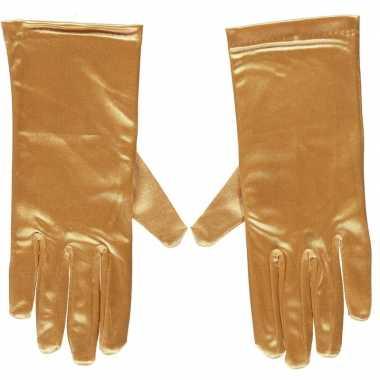 Gouden gala handschoenen kort satijn carnavalskleding valkenswaard