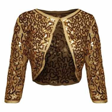 Gouden glitter pailletten disco bolero jasje dames carnavalskleding v