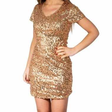 Gouden glitter pailletten disco jurkje dames carnavalskleding valkens